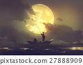 silhouette of fishermen and big moon on background 27888909