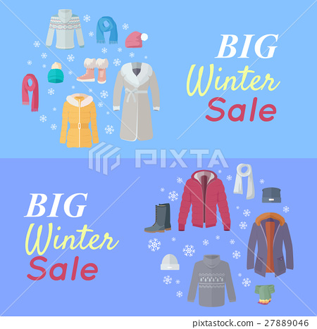 69b324efd970 Big Winter Sale. Winter Clothes Web Banner Poster - Stock ...