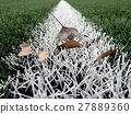 End of football season.Plastic green football turf 27889360