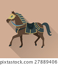 Brown Horse in Gold Collar. Isolated Avatar Icon 27889406