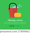 Cleaning Web Banner. Bucket with Water and Sponge 27889662