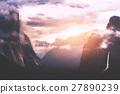 mountain, sunrise, valley 27890239