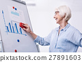Aged businesswoman writing wiping the white board 27891603