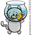 cat and fish cartoon 27892043