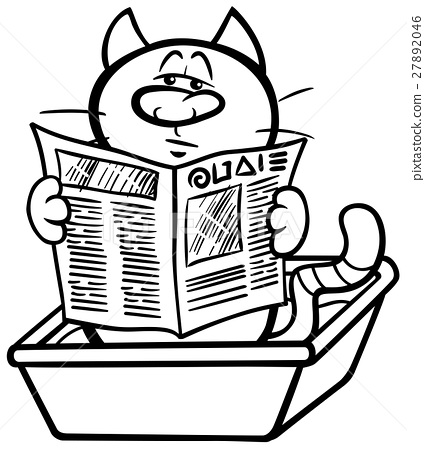 Cat In Litter Box Coloring Page