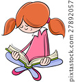 girl reading book cartoon 27892057