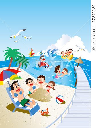 家庭旅行 休閒 海水浴 27893180