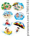 家庭旅行,家庭旅行,家庭在海灘游泳 27893181