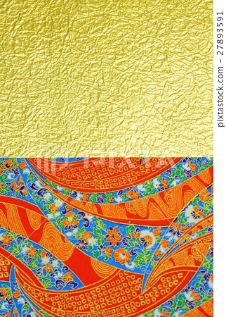 Gorgeous New Year card background material · Red type Yuzen