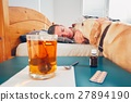 Sick man in bed 27894190