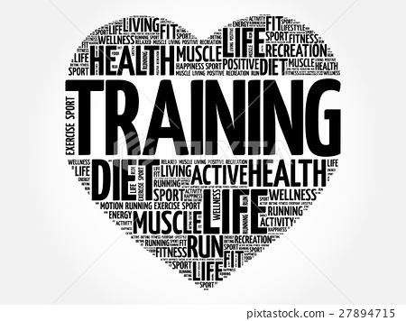 Trainer heart word cloud, fitness 27894715