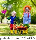 Kids picking vegetables on organic farm 27894979