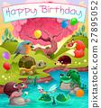 Happy Birthday card with cute animals  27895052
