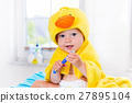 Baby in bath towel with tooth brush 27895104