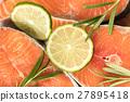 salmon, raw, lemon 27895418