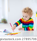 Kids read, write and paint. Child doing homework. 27895706