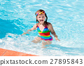 Child learning to swim in pool 27895843