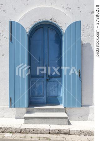 Old wooden blue door 27896258