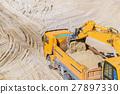 Excavator loading dumper truck 27897330