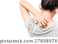 Woman Itching on shoulder with white background 27898976