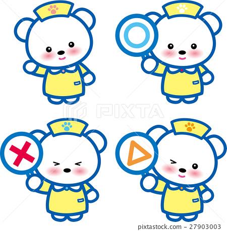 동물 간호사 옐로우 귀여운 동물 간호사 곰 〇 × △ 발자국 27903003