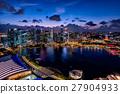 小艇停靠灣 新加坡 夜景 27904933