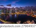 小艇停靠灣 新加坡 夜景 27904937