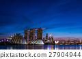 小艇停靠灣 新加坡 夜景 27904944