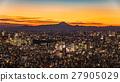 도쿄 도심의 야경과 후지산의 실루엣 27905029