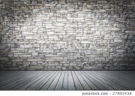 white wood floor and white brick wall background stock photo