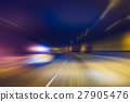 police car with lighting while  running in tunnel. 27905476