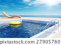 Blue swimming pool with yellow life ring floating  27905760