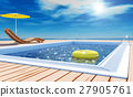 Blue swimming pool with yellow life ring floating  27905761
