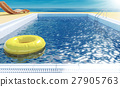 Blue swimming pool with yellow life ring floating  27905763