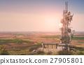 Telecommunication mast TV antennas on the day. 27905801