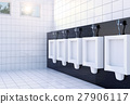 Public toilet room interior with white urinals row 27906117