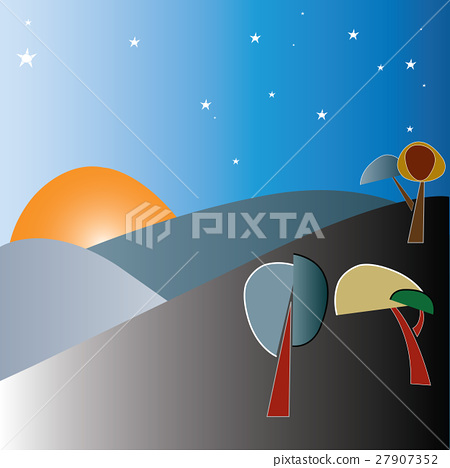 sunrise between stars and hills with trees 27907352
