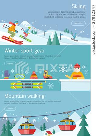 Skiing. Winter Sport Gear. Mountain Walking. Set 27912247