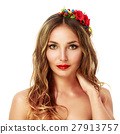Woman with Wreath of Red Flowers. Isolated. 27913757