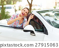 Woman standing near a convertible with keys 27915063