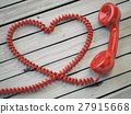 Phone reciever and cord as heart  27915668