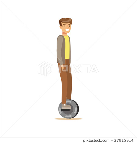 Man In Grey Jacket And Brown Pants Riding Electric 27915914