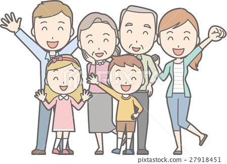 건강한 가족 No.02 (3 세대 6 인 가족의 건강한 일러스트) 27918451