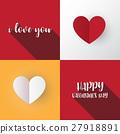 Heart Paper Sticker With Shadow Valentine's day. 27918891