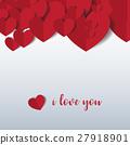 Heart Paper Sticker With Shadow Valentine's day. 27918901