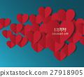 Heart Paper Sticker With Shadow Valentine's day. 27918905