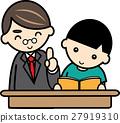 Teacher and a boy teaching studying 27919310