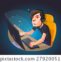 A man play the computer game, Vector illustration. 27920051