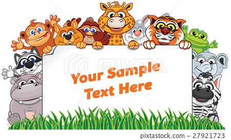 Wild Animals with Paper Sign. Vector Illustration 27921723