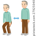 老人 蹲坐 彎曲和伸展 27925040